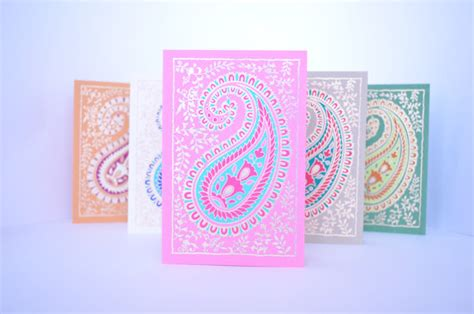 Hd Set Thanks paisley blank greeting card set indian wedding cards