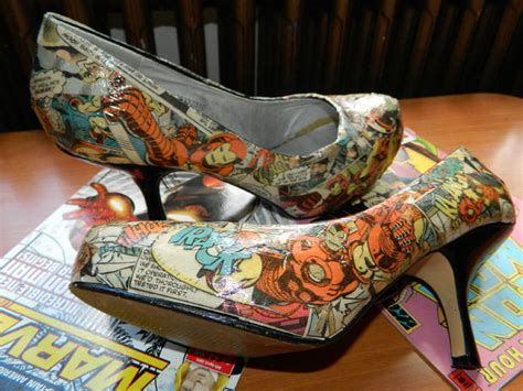 decoupage on shoes decoupage using comics unique frames mirrors and shoes