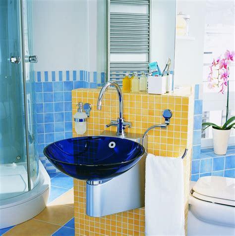 bathroom modern bright blue and yellow bathroom design