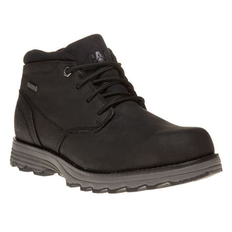 new mens caterpillar black elude leather boots chukka lace