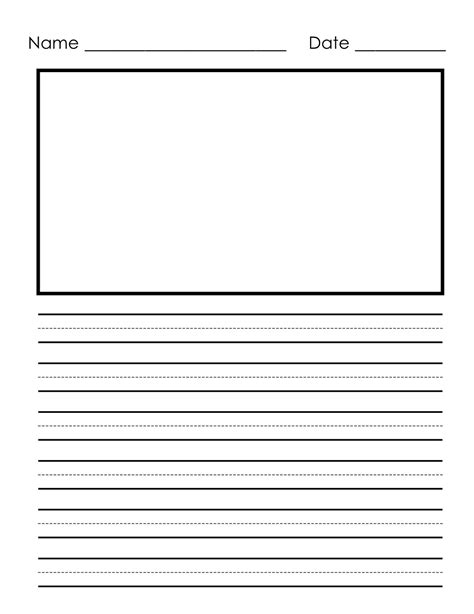 free printable lined paper with picture box free handwriting practice for first grade 1st grade