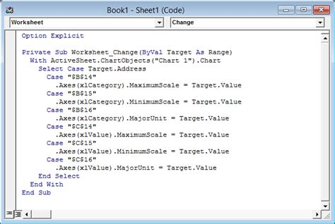 link excel chart axis scale  values  cells peltier