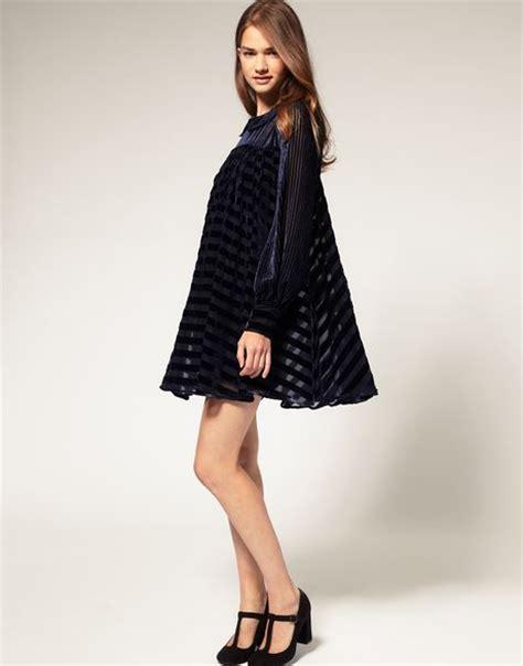 velvet swing dress asos collection asos swing dress in velvet stripe in blue