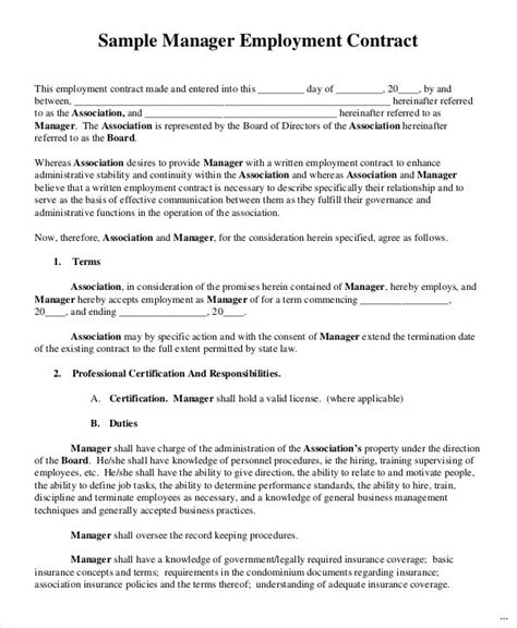 32 Employment Contract Template Impression Marevinho General Manager Contract Template