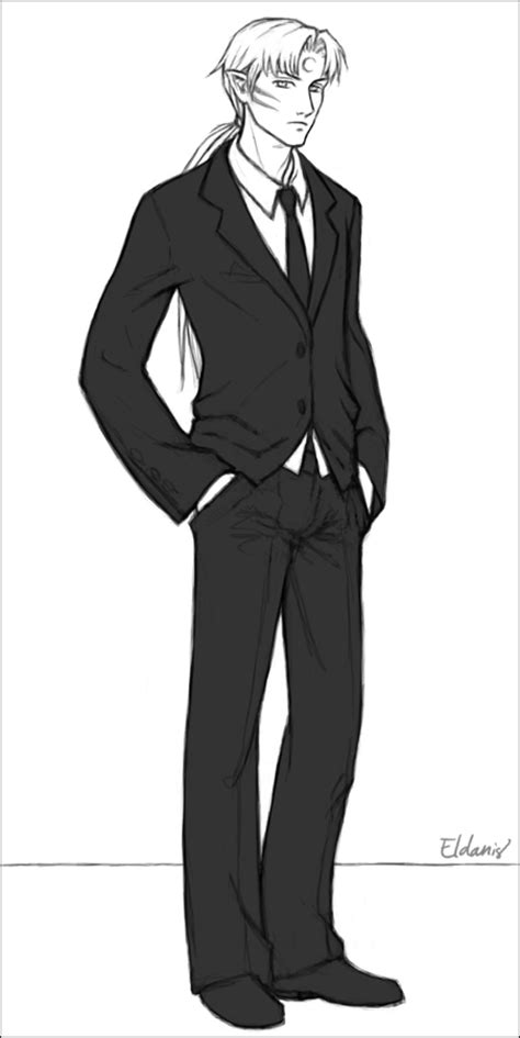 Sesshoumaru In A Suit By Eldanis On Deviantart Anime Boy In Suit Drawing Free