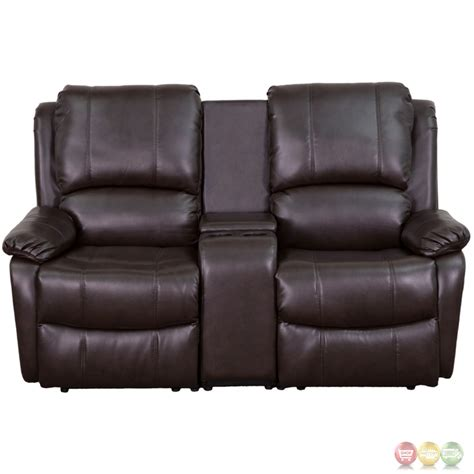 Reclining Seat Theater by 2 Seat Reclining Pillow Back Brown Leather Theater
