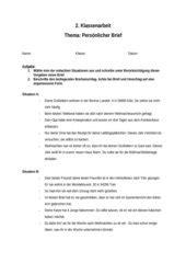 Pers Nlicher Brief Beispiel 4teachers klassenarbeit pers 246 nlicher brief