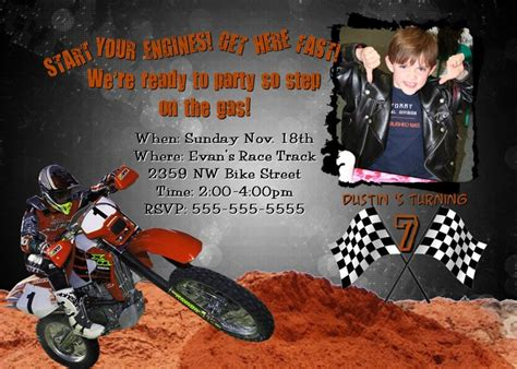 Motocross Birthday Invitations Motorcycle Birthday Invitation Templates