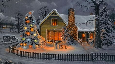 christmas tree with house wallpaper house wallpaper wallpapersafari
