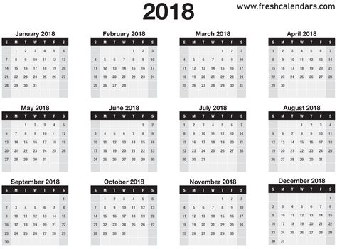 printable calendar 2018 in one page printable 2018 calendar templates and images