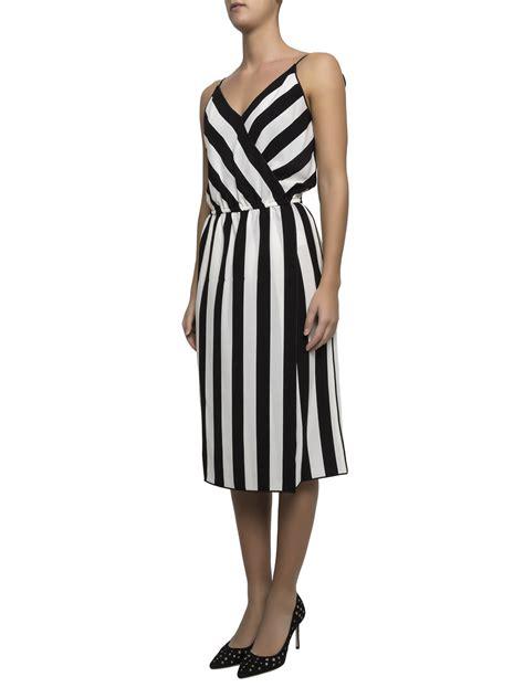 Striped Sleeveless Dress marc striped crepe sleeveless dress knee length