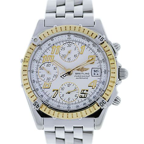 breitling chronomat d13350 18k yellow gold bezel