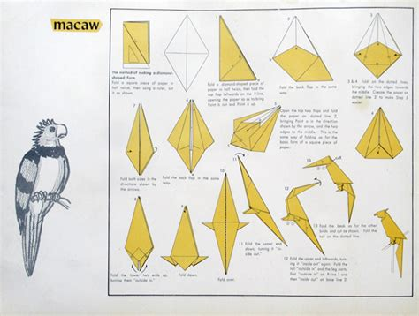 Folded Paper Birds - how to make an origami canary and macaw kcp international