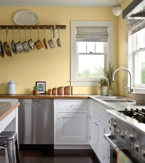 pale yellow wall color with white kitchen cabinet for country styled kitchen ideas with white