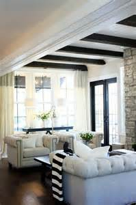 Beautiful Living Room With Beams White Chesterfield Sofa Mediterranean Living Room