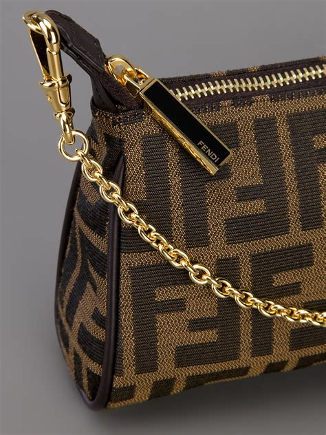 fendi monogram shoulder bag  brown lyst