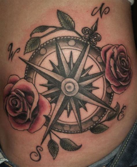 compass shortlisted for black rose tattoo on shoulder