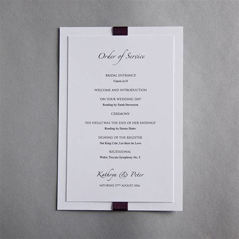 wedding order of service cards template elegance wedding invitation by twenty seven