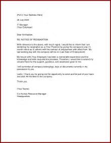 Notice Letter For Resignation by Formal Resignation Letter 1 Month Notice Formal Letter Template