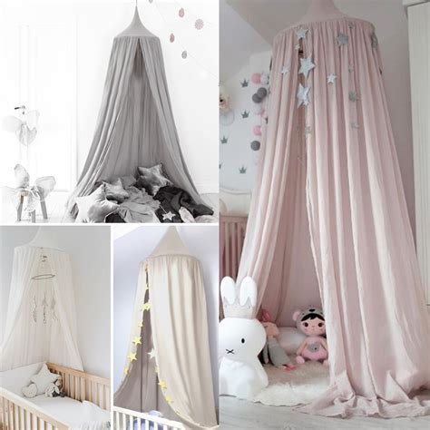 Childrens Bed Canopy Baby Bed Canopy Bedcover Mosquito Net Curtain Bedding Dome Tent Cotton Uk Ebay