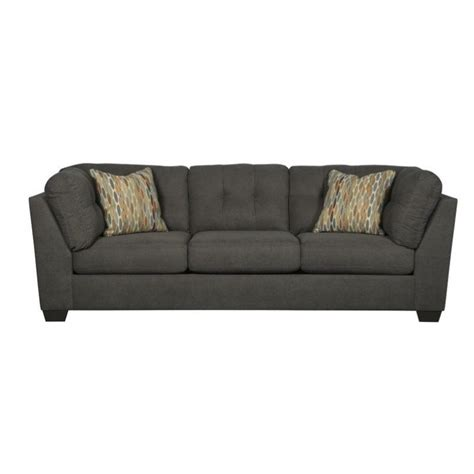 ashley furniture sectional microfiber ashley furniture delta city microfiber sofa in steel 1970038