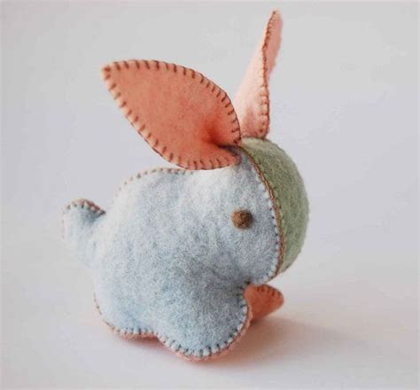 Handmade Rabbit - pink light blue and green baby bunny rabbit felt