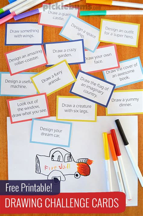 card challenges free printable drawing challenge cards picklebums