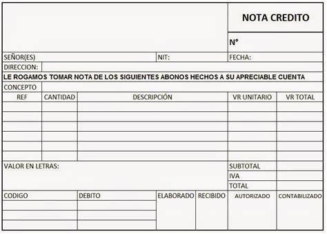 factura nota de cargo nota de credito recibo de soportes contables