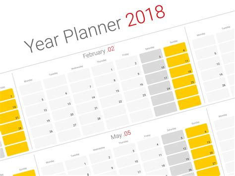 year calendar template daily planner 2018 yearly wall planner agenda template