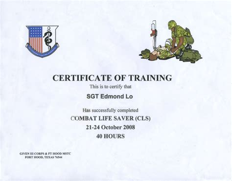 Combat Lifesaver Certificate Template awards and certificates memories of edmond lo