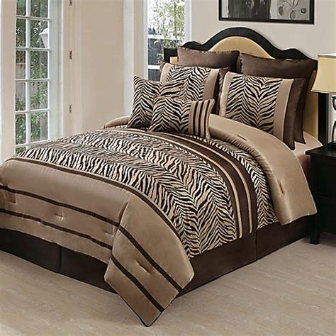 laken zebra 8 piece queen comforter set in brown