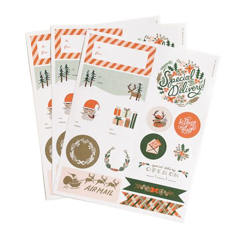 Naco Label Sticker Pack Snow stickers labels pack of 3 rifle paper co