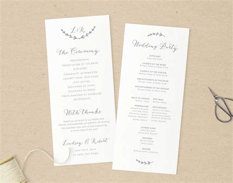 wedding program templates for pages wedding programs template printable programs instant