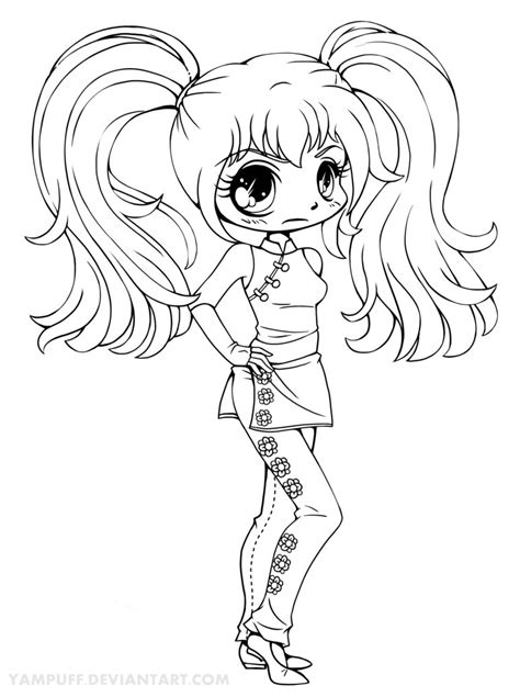 Kaylayla Chibi Lineart Commission By Yampuff On Deviantart Anime Coloring Page Chibi Printable