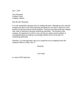 Resignation Letter Sle When Unhappy Resignation Due To Unacceptable Circumstances