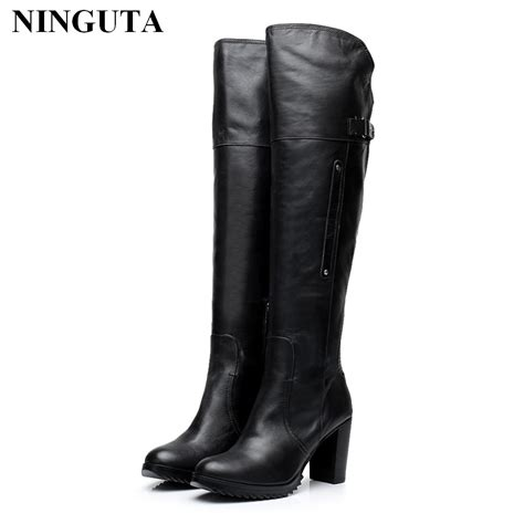 high quality genuine leather thigh high boots for