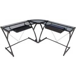 Black Glass Corner Desk Regency Seating Glass Computer Corner Desk Black Walmart