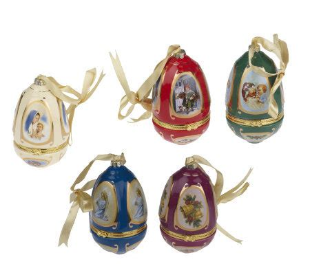 musical egg ornaments from qvc set of 5 porcelain musical eggs by valerie page 1 qvc