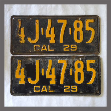Vanity Plates For Sale by 1929 California Yom License Plates For Sale Original