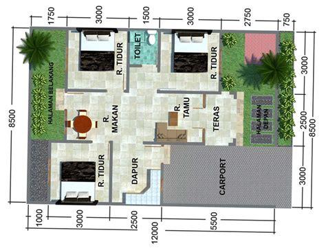 denah rumah sederhana      kamar tidur  tipe  ndik home