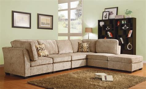 Brown Chenille Sofa by Brown Beige Chenille Upholstered Fabric Modular Sectional