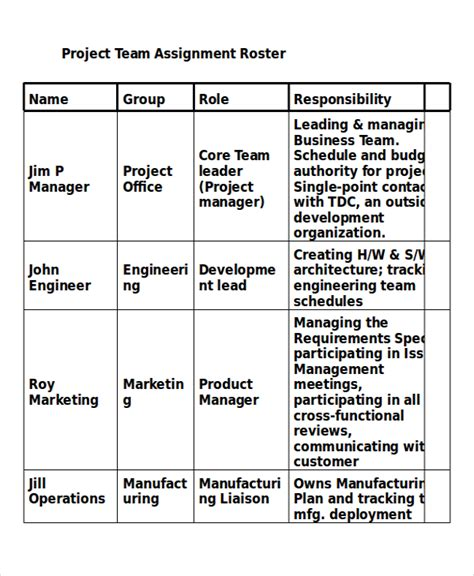 Project Assignment Template 4 Free Word Pdf Documents Download Free Premium Templates Project Team Roster Template