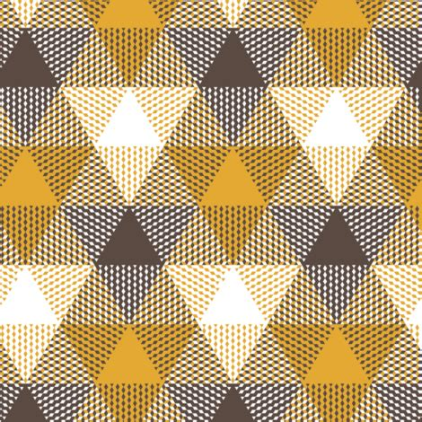 triangle gingham brown, white and mustard fabric