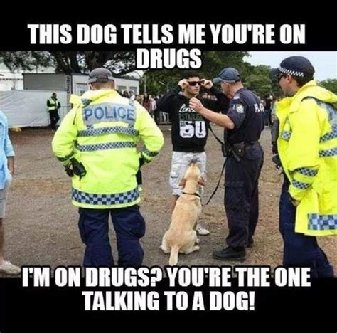 Funny Drug Memes - police talking to dogs yet accuse you of being on drugs