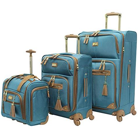steve madden luggage 3 softside spinner suitcase set collection harlo teal blue