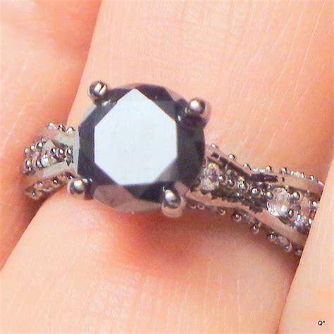 Black Meissonate genuine black moissanite ring estate