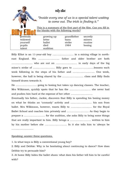 up film worksheet movie worksheet billy elliot english reading