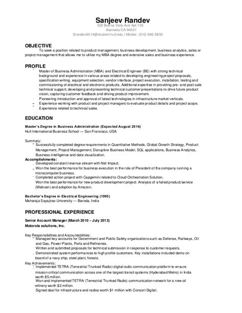 Mba Vs Phd Engineering Resume by Sanjeev Randev Resume Electrical Engineer Mba 2014