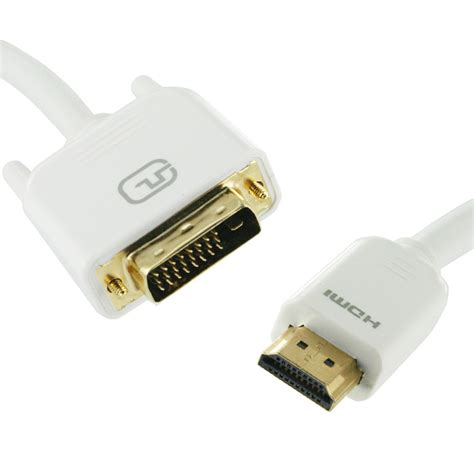 monitor to hdmi 1m hdmi to dvi d cable white dual link for lcd
