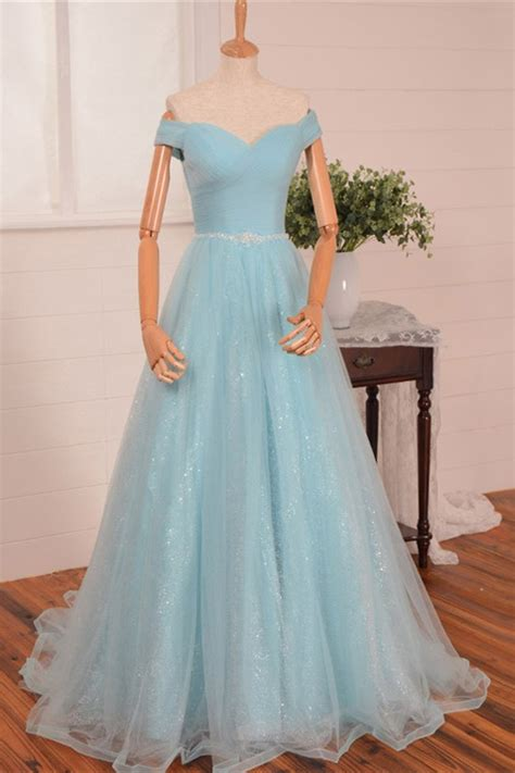 A Line Sweetheart Off The Shoulder Light Blue Tulle Prom Dress Beading Belt